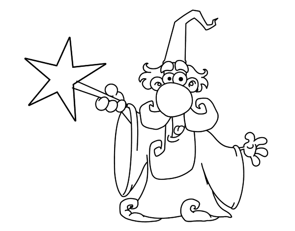 Dibujo de Mago con varita mgica para Colorear  Dibujosnet