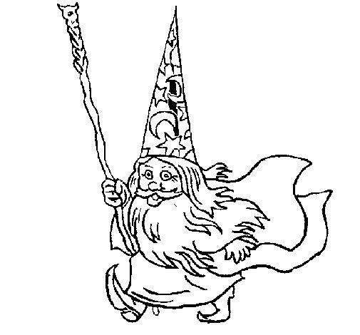 Dibujo de Mago enano para Colorear