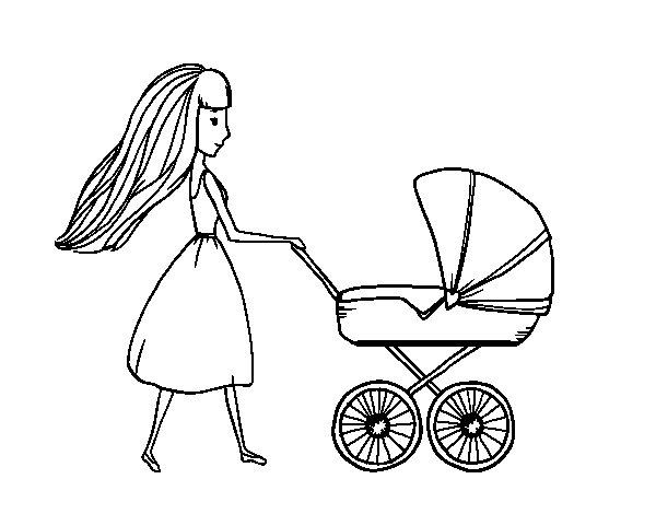 Dibujo de Mamá con cochecito de bebé para Colorear