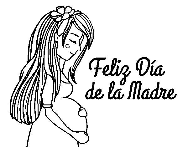 Dibujo de Mam embarazada en el da de la madre para Colorear