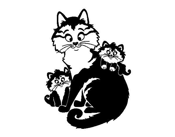 Dibujo de Mamá gata y gatitos para Colorear