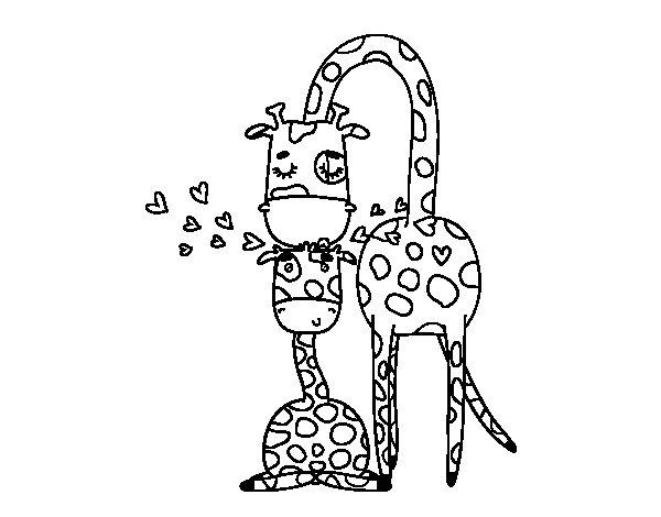 Dibujo de Mamá jirafa para Colorear