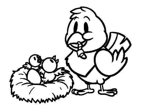 Dibujo de Mamá pájara para Colorear
