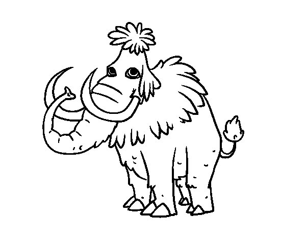 Dibujos De Prehistoria Para Ninos Para Colorear: Dibujo De Mamut Prehistórico Para Colorear