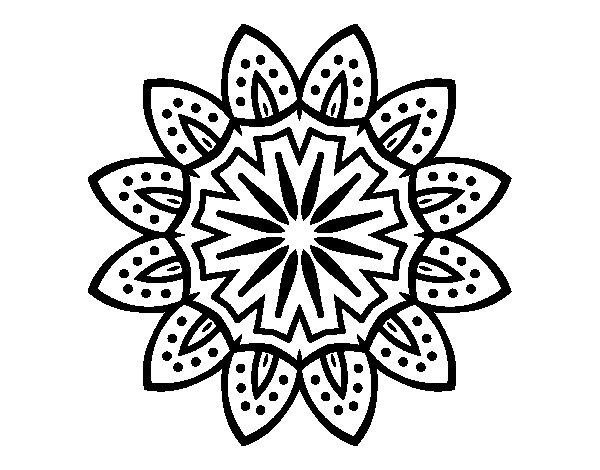 Dibujo de Mandala con pétalos para Colorear