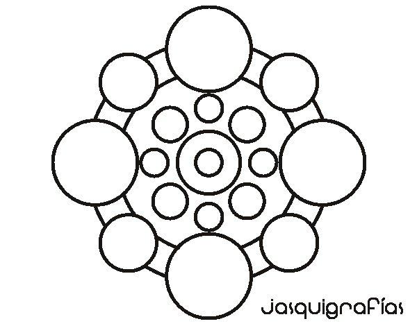 Dibujo de Mandala con redondas para Colorear