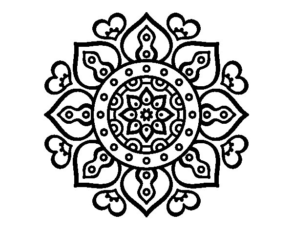 Mandalas Para Colorear Online Mandalas Para Descargar: Dibujo De Mandala Corazones árabes Para Colorear