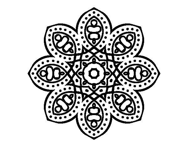 Dibujo de Mandala de inspiración árabe para Colorear