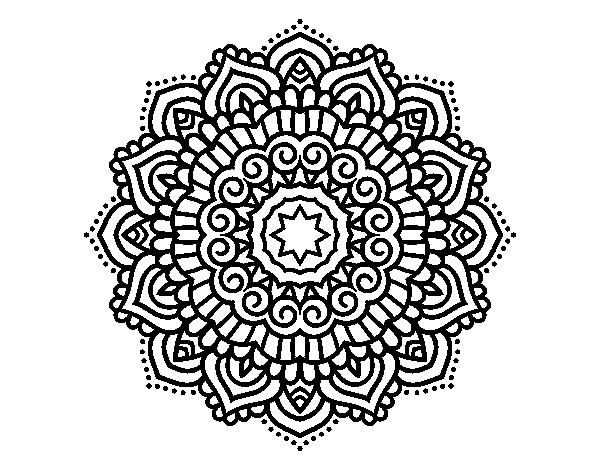 Dibujo De Mandala Estrella Decorada Para Colorear