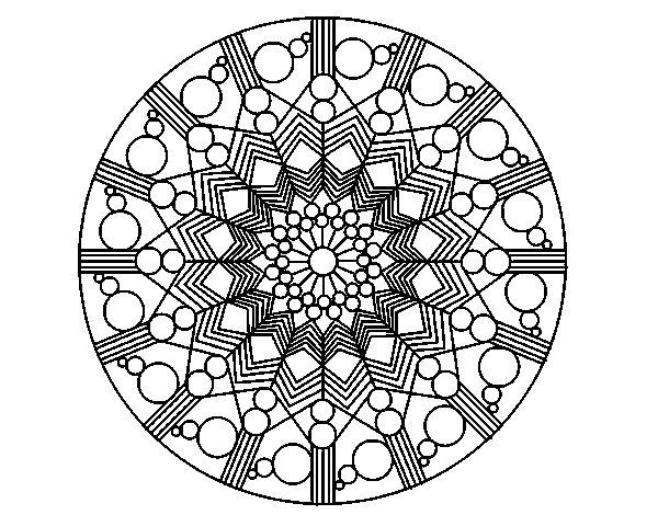 Dibujo de Mandala flor con círculos para Colorear
