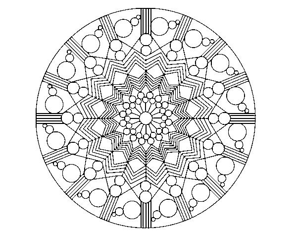 M Ndalas Para Colorear Dibujos Mandalas Para Imprimir Con: Dibujo De Mandala Flor Con Círculos Para Colorear