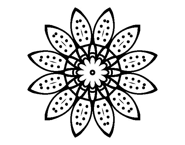 Dibujo de Mandala flor con pétalos para Colorear