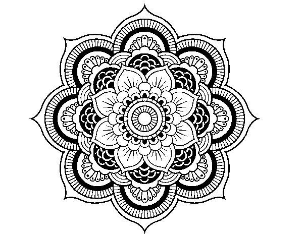 Dibujo de Mandala flor oriental para Colorear