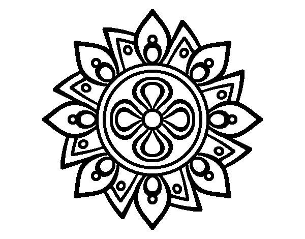 Worksheet. Dibujo de Mandala flor sencilla para Colorear  Dibujosnet