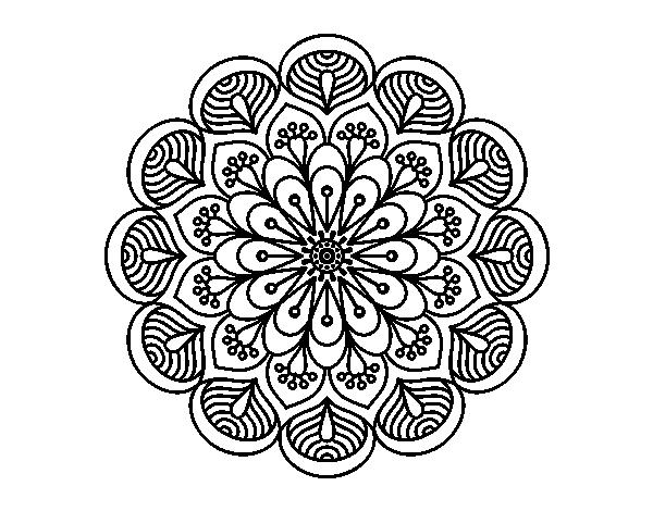 dibujo de mandala flor y hojas para colorear. Black Bedroom Furniture Sets. Home Design Ideas