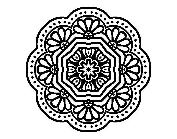 Dibujo de Mandala mosaico modernista para Colorear