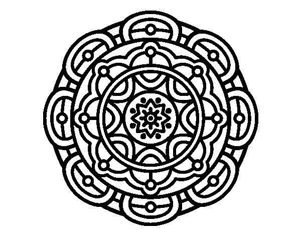 Dibujo De Mandala Meditación Para Colorear: Dibujo De Mandala Para La Relajación Mental Para Colorear
