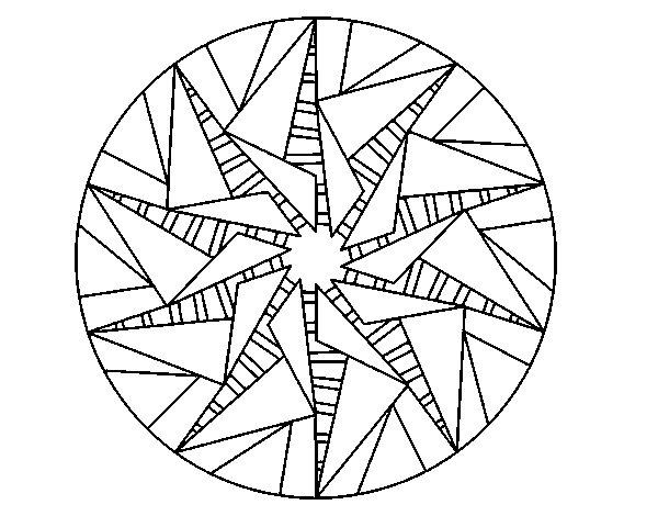 Colorear Mandalas Mandalas Dibujos Para Colorear Mandalas: Dibujo De Mandala Sol Triangular Para Colorear