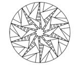 Dibujo de Mandala sol triangular para colorear