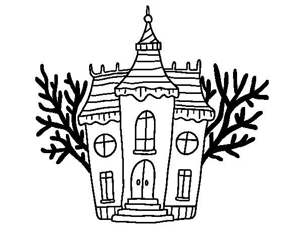 Dibujo de Mansión encantada de Halloween para Colorear