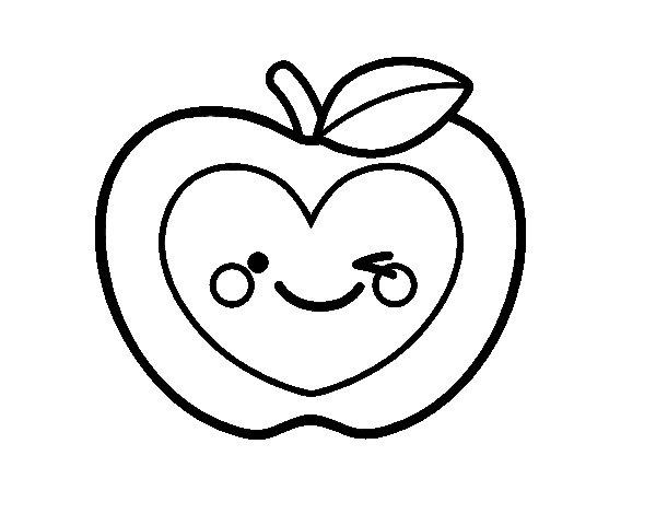 Dibujo de Manzana corazón para Colorear