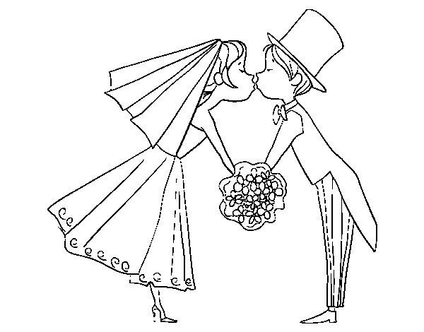 Dibujo de Marido y Mujer besándose para Colorear