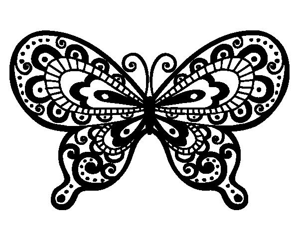 Dibujos Animados De Mariposas Para Colorear: Dibujo De Mariposa Bonita Para Colorear