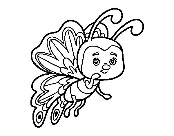 Dibujos Animados De Mariposas Para Colorear: Dibujo De Mariposa Coqueta Para Colorear