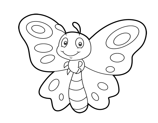 Dibujos Animados De Mariposas Para Colorear: Dibujo De Mariposa Fantasía Para Colorear