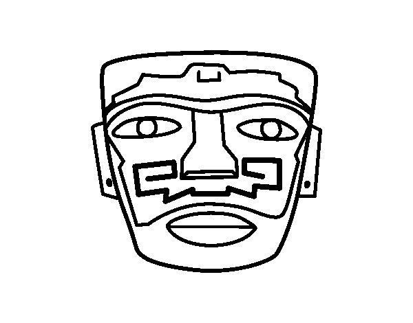 Dibujo de Máscara ancestral azteca para Colorear
