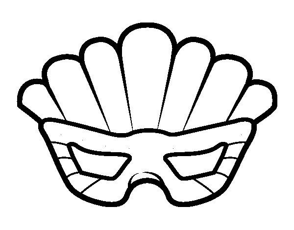 Dibujo de Máscara con plumas para Colorear