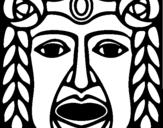 Dibujo de Máscara Maya para colorear