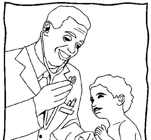 Dibujo de Médico con el estetoscopio para Colorear