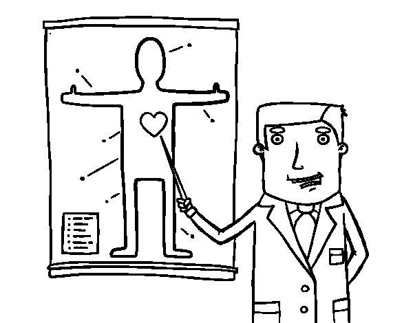 Dibujo de Médico explicando para Colorear