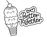 Dibujo de Mejor juntos para colorear