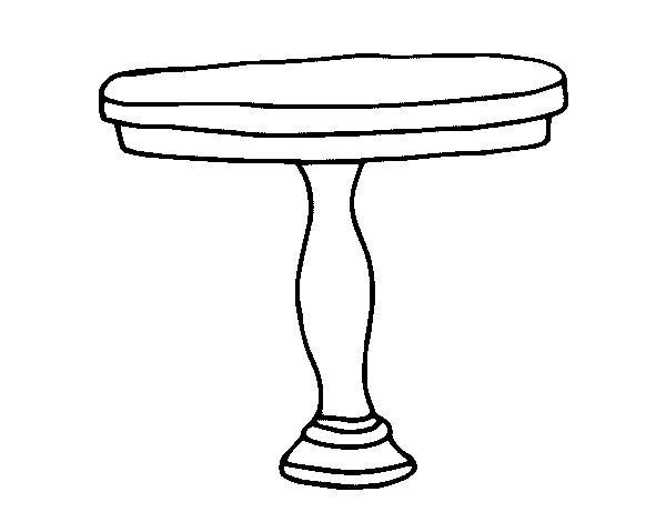 Dibujo de mesa redonda para colorear for Sillas para dibujar facil