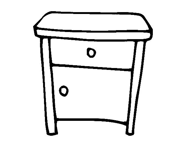 Dibujo de mesita de noche para colorear for Mesa de dibujo con luz