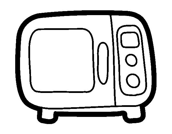 Dibujo de microondas para colorear - Dibujos de cocina para pintar ...