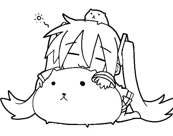 Dibujo de Miku con gatitos para Colorear  Dibujosnet