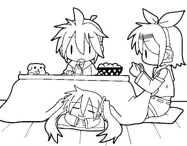 Dibujo de Miku, Rin y Len desayunando para Colorear