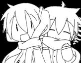 Dibujo de Miku y Len con bufanda