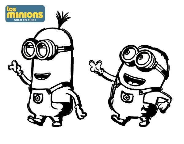 Dibujo de Minions - Tom y Dave para Colorear - Dibujos.net