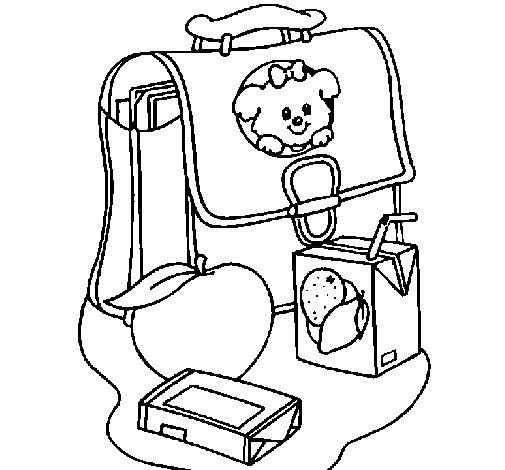 Dibujo de Mochila y desayuno para Colorear