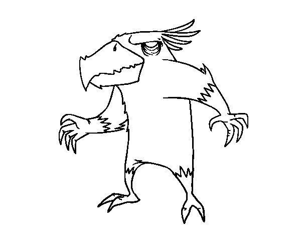 Dibujo de Monstruo pajarraco malvado para Colorear