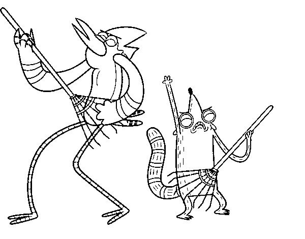Dibujo de Mordecai y Rigby para Colorear  Dibujosnet