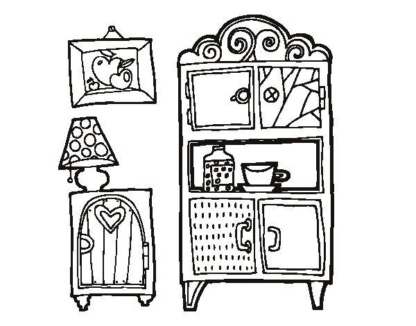 dibujo de muebles de salón para colorear - dibujos.net - Dibujo De Muebles
