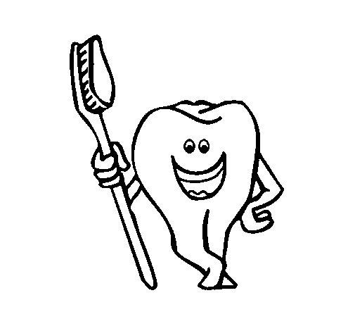 Dibujo de Muela y cepillo de dientes 1 para Colorear