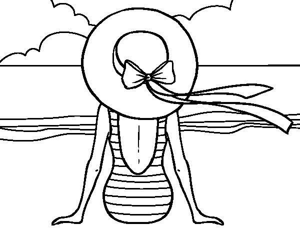 Dibujo De Mujer Mirando El Mar Para Colorear