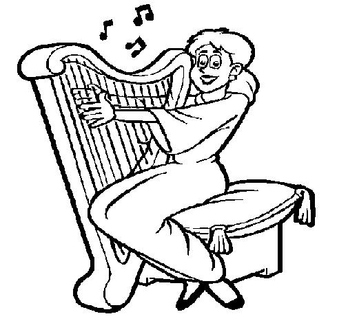 Dibujo de Mujer tocando la arpa para Colorear  Dibujosnet