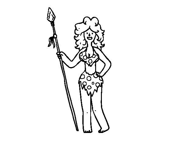 Dibujo de Mujer troglodita para Colorear